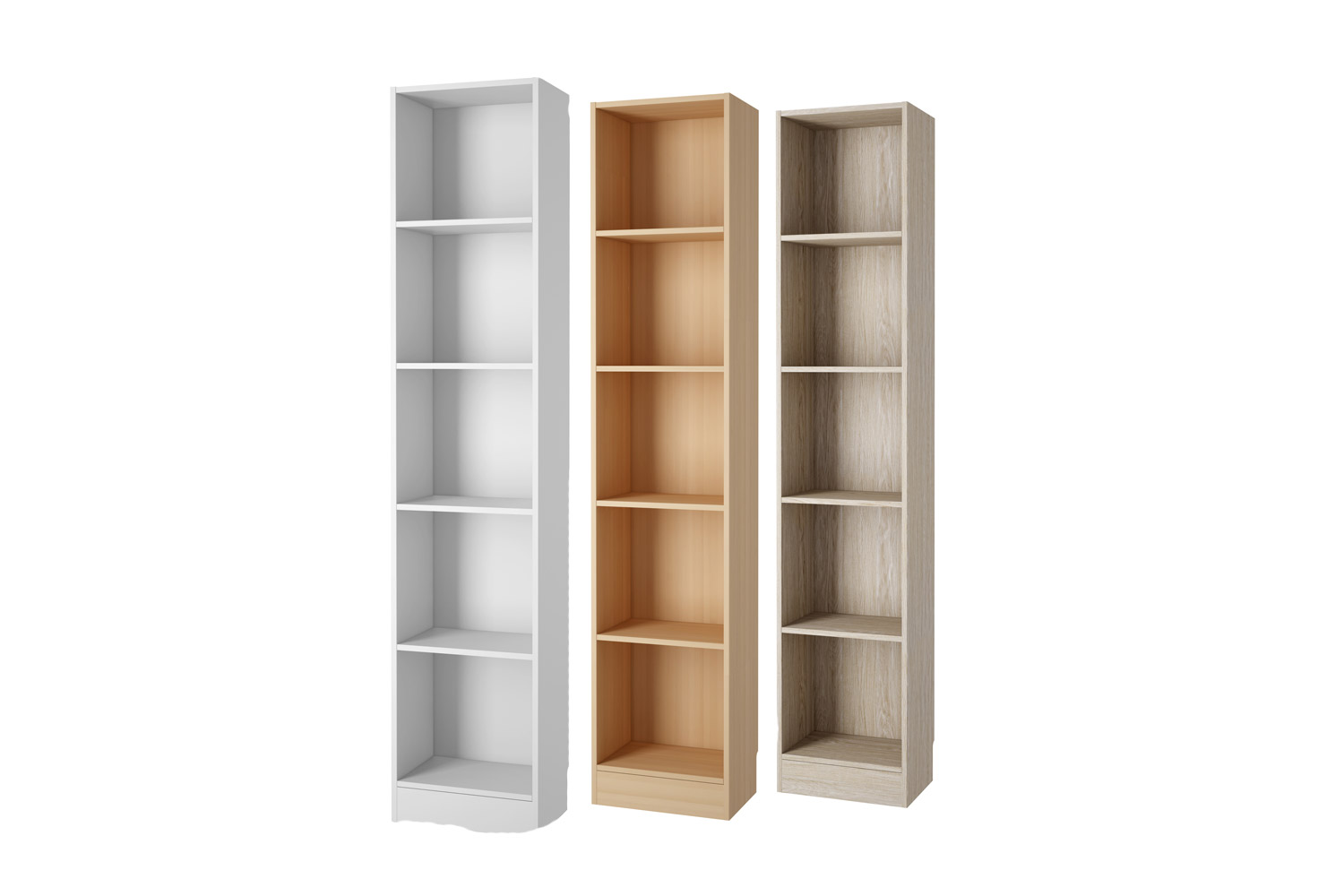 Three series of tall bookcase in different schemes
