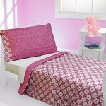 Toddler full size bed idea with headboard and footboard in white thin bed comforter sets in pink a white bedside table