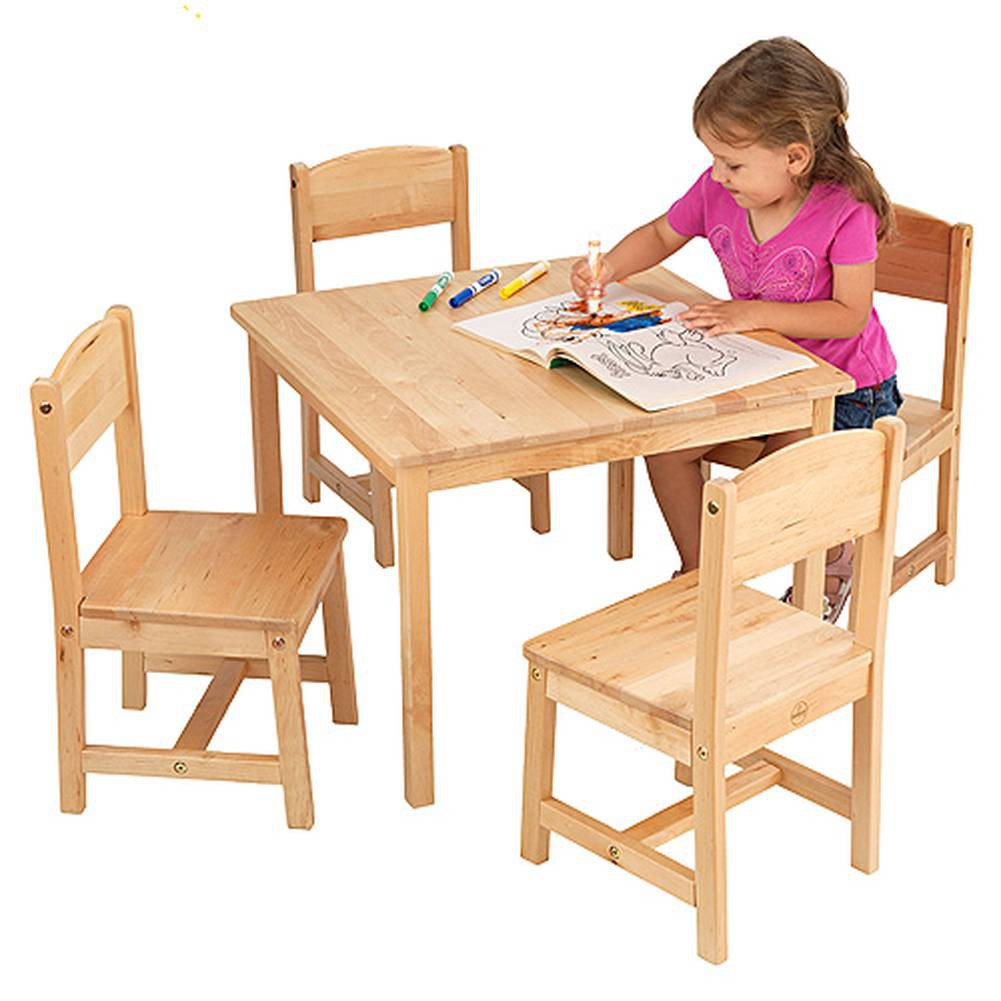 Kid table and chairs wood - Traditional Wooden Table And Chair Set For Toddlers
