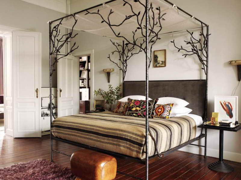 Tree Design Of Iron Canopy Bed Frame With Stripped Bed & Elegant Iron Canopy Bed Frame | HomesFeed