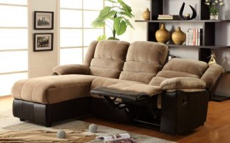 Triple Sectional Sofas With Recliners And Chaise With Shelves Behind