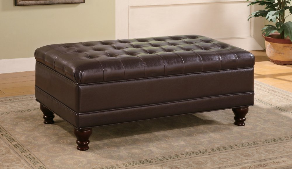 tufted leather ottoman coffee table in black color and rectangular shape - Tufted Ottoman Coffee Table