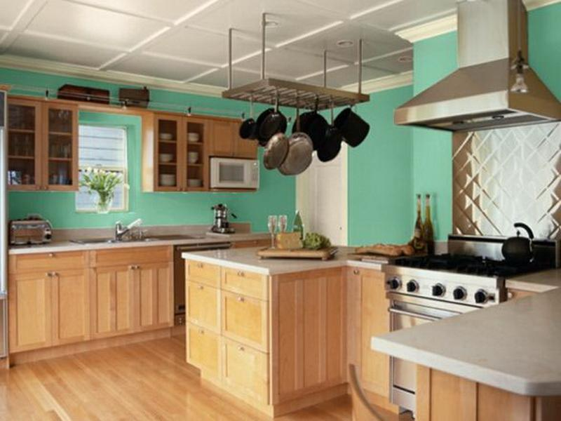 Great Turqoise Wall Painting For Kitchen Unfinished Kitchen Cabinet Systems White  Kitchen Countertop Wood Flooring Idea With