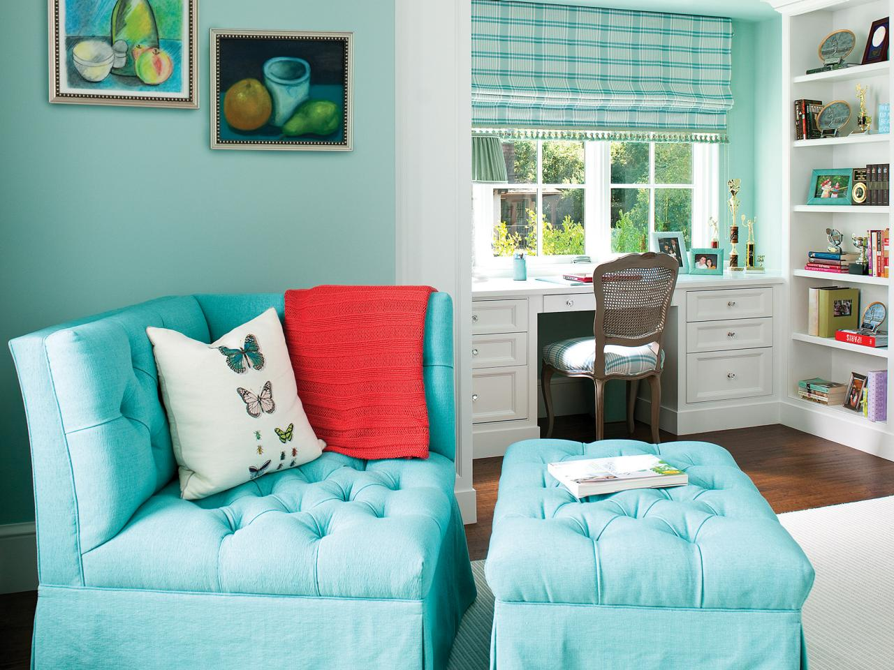 turquoise chairs for bedroom sitting area with ottoman white desk and