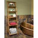 Unfinished wood ladder shelf design for bathroom