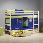 Unfinished wood loft bed idea for kids with storage and tent immitation