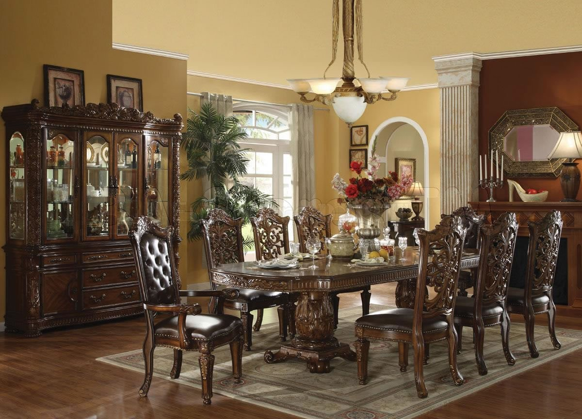 Unique Formal Dining Room Sets For 8 With Wooden Hutch And Fireplace