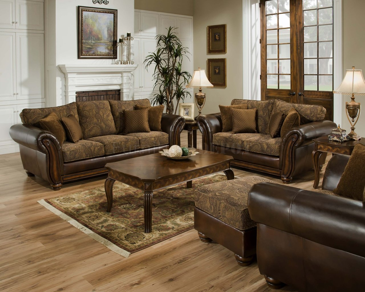 Unique Pattern And Leather Design Of Couch Loveseat Sets With Ottoman Wooden Table Plus