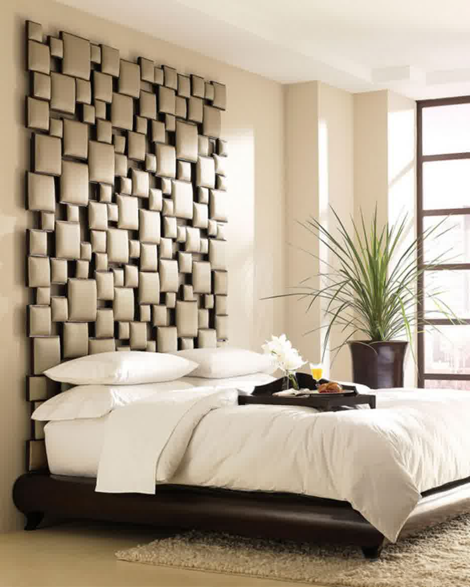 Unique and creative wall mount headboard idea for modern minimalist bedroom decor idea