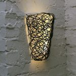 Unique and gorgeous wall lamp for outdoor with black metal wire decoration and white lampshade