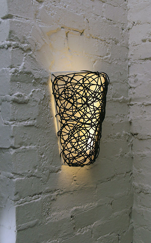 Battery operated wall lights light up your home in instant and unique and gorgeous wall lamp for outdoor with black metal wire decoration and white lampshade aloadofball Choice Image