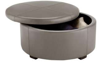 Upholstered Small Round Ottoman With Storage