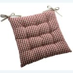 Upholstered country chair pad with strip motif
