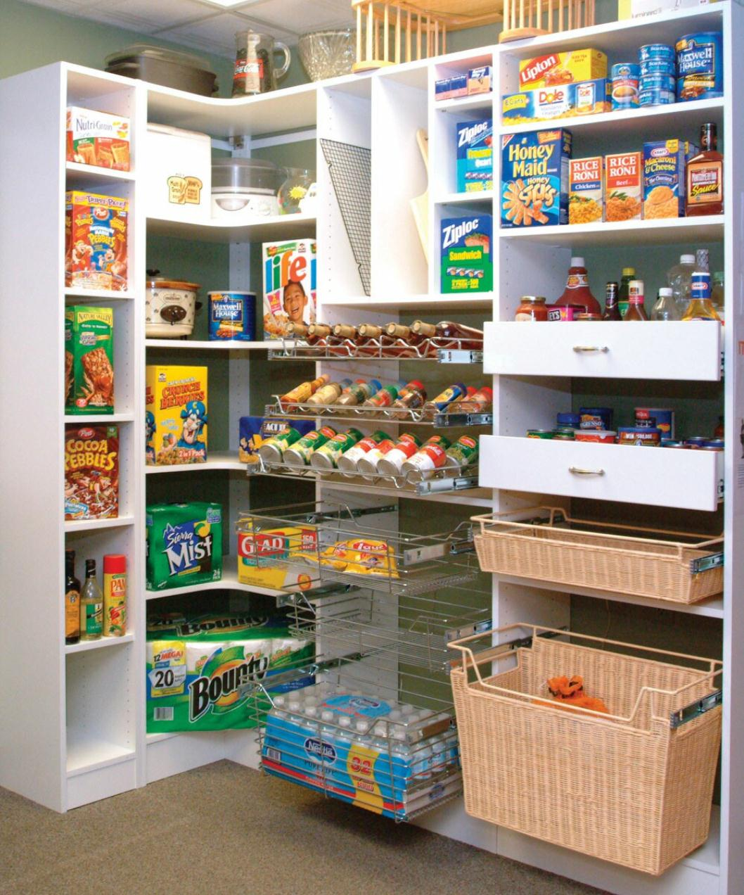 Effective Pantry Shelving Designs For Well Organized: Good Walk In Pantry Shelving Systems