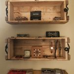 Wall mounted shelving units made of wine crates