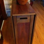 Walnut Wooden Drop Leaf Table With Chair Storage