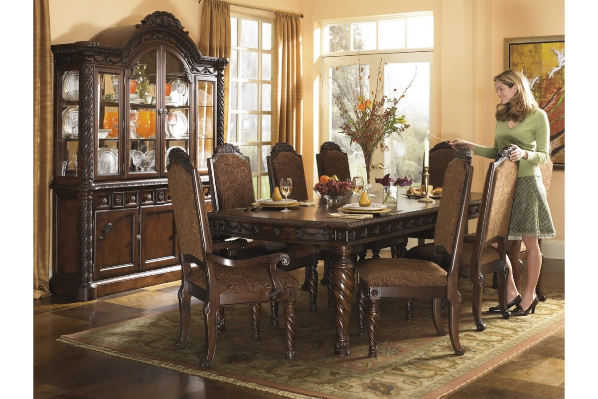 Warm brown formal dining room sets for 8 with glass door for Formal dining room collections