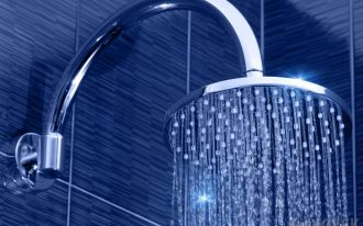 Water Flowing From Round Types Of Shower Heads