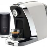White And Metal Grey Espresso Machine With Milk Frother