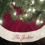White And Red Personalized Tree Skirts For Christmas Tree