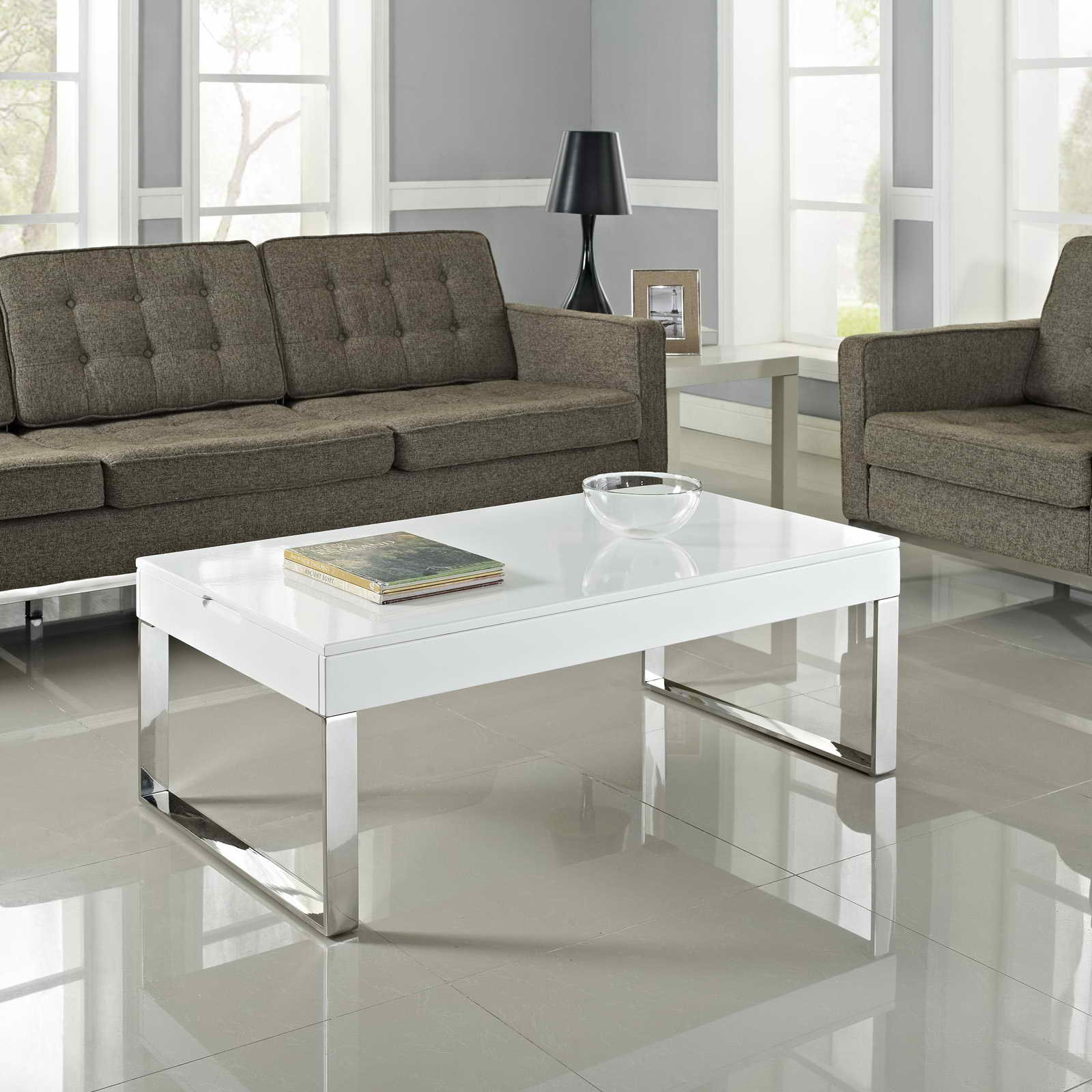 Amazing lucite coffee table ikea homesfeed for White end tables for living room