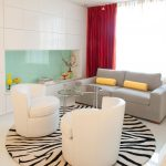 White Living Room With Round Cheetah Print Rugs