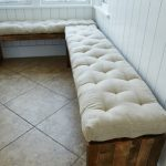 White Long Bench Pads Indoor With Rustic Wooden Bench Design