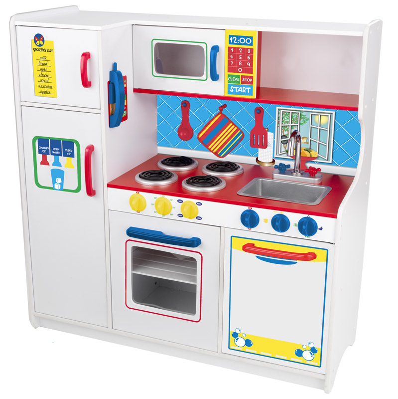 White Modern Wood Play Kitchen Sets For Kids