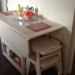 White Pretty Pattern Of Drop Leaf Table With Chair Storage