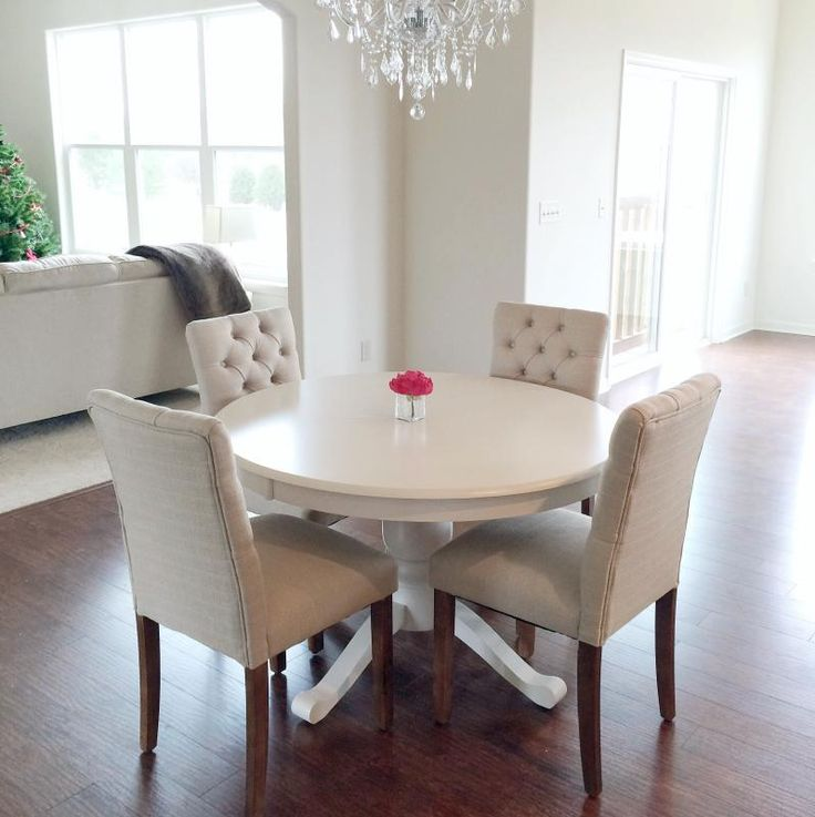 White Round Table With Four WHite Armless Parsons Chairs Target