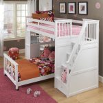 White Small Bunk Beds For Toddlers With Pink Bedding And Red Rug