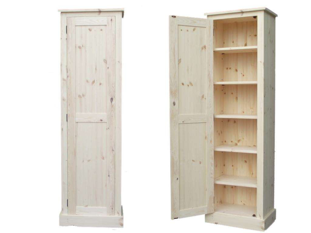 White Tall Free Standing Linen Closet With Unique Wooden Style