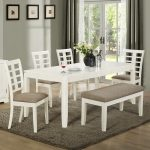 White Wooden Dinette Sets With Bench And Fur Rug Plus Long Curtains