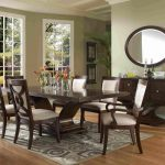 White Wooden Formal Dining Room Sets For 8 With Cabinet And Round Mirror