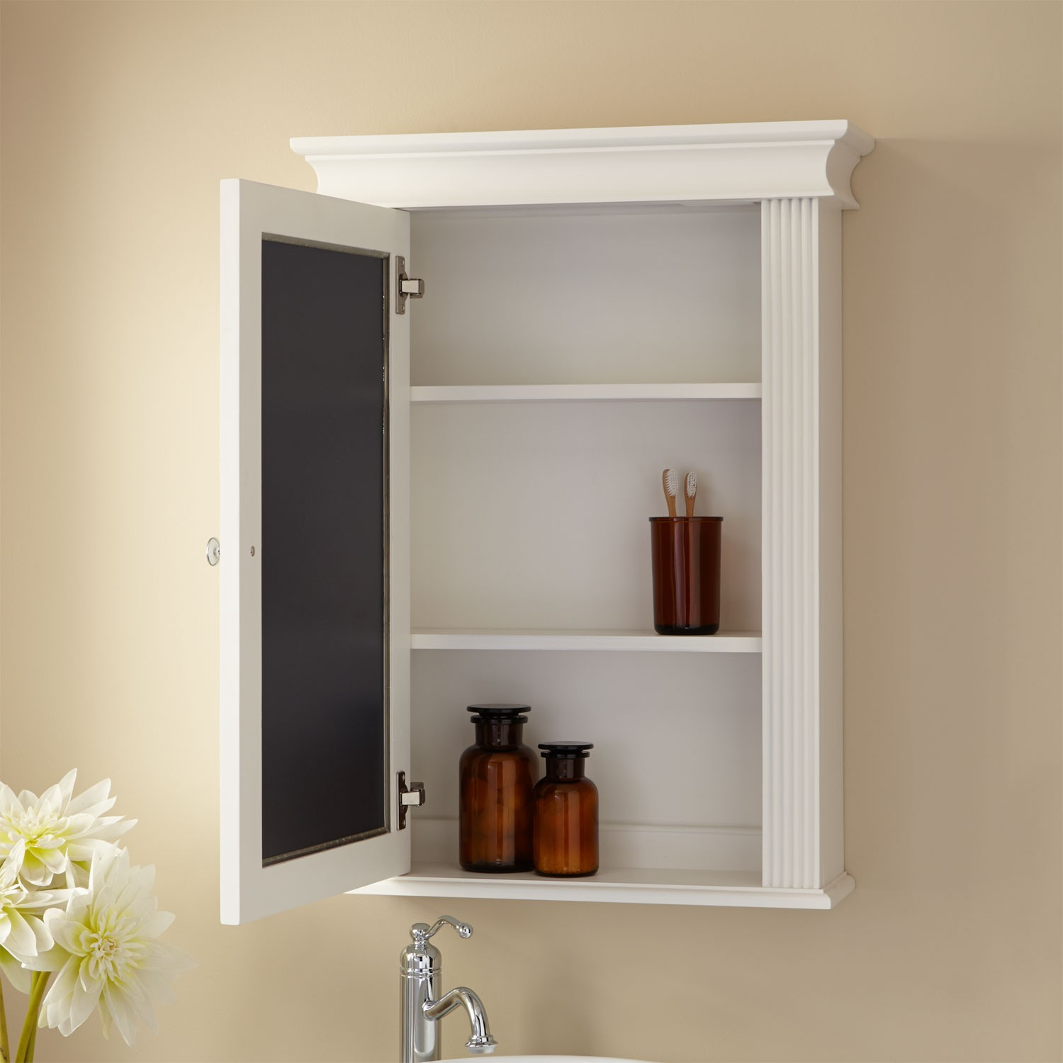 White Wooden Recessed Medicine Cabinet No Mirror