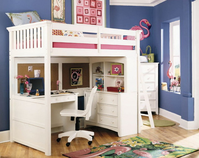 girls loft bed with desk design ideas and benefits homesfeed. Black Bedroom Furniture Sets. Home Design Ideas