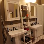 White Painted Wood Ladder Rack Idea For Bathroom A Pair Of Free Standing Sinks  Wall Mounted White Cabinets With Mirror Door