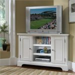 White tall corner TV table with storage