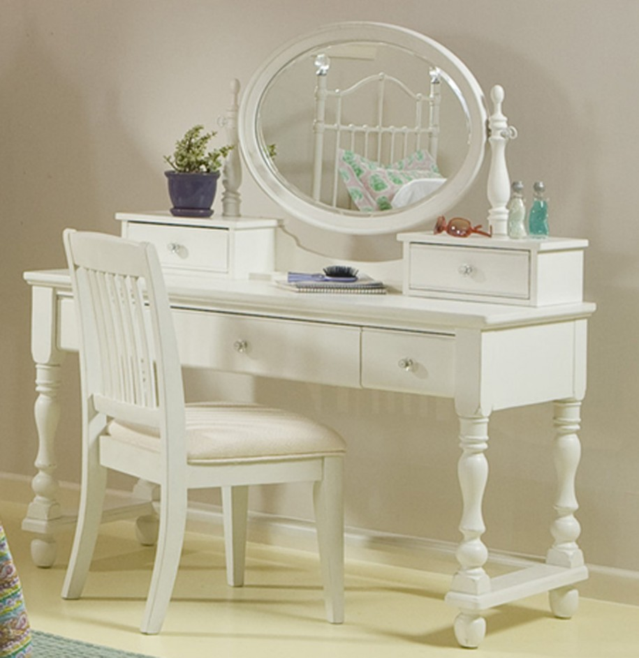 White Vanity With Built In Oval Miirror Makeup Chair Cushion