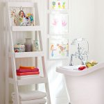 White Wooden Ladder Shelf For Bathroom