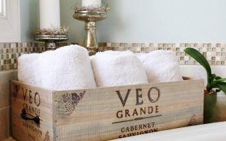 Wine crate storage box for towel supplies