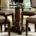 Wood Pedestal Table Base For Glass Top Design With Four Arm Chairs