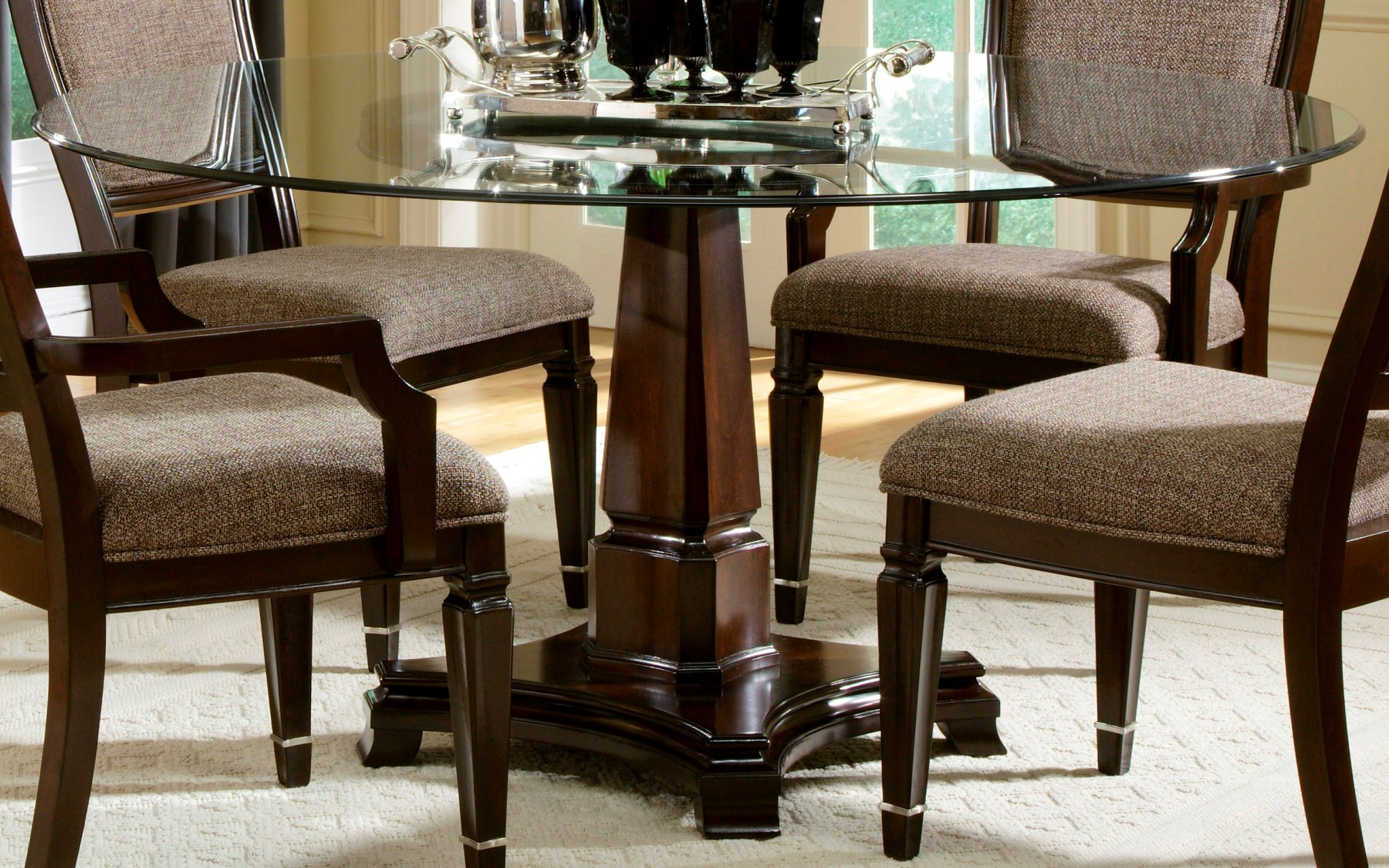 Delightful Wood Pedestal Table Base For Glass Top Design With Four Arm Chairs