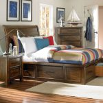 Wood Sleigh bed frame in rustic with higher headboard and drawer system underneath