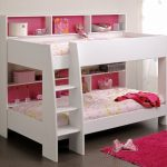 Wood White Low Small Bunk Beds For Toddlers With Red Fur Rug And Racks