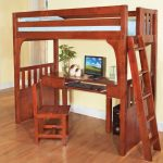 Wood loft bed frame with computer desk and ladder and also a wooden chair