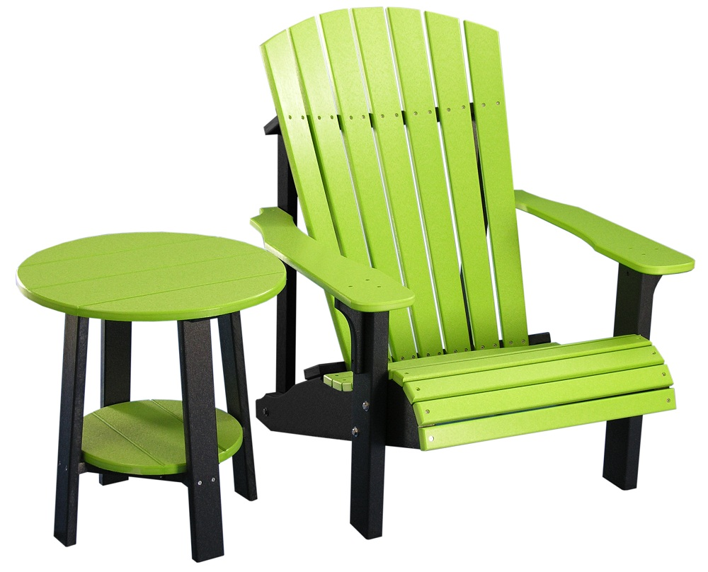 wooden lime green accent chair and table for outdoor