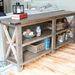 Wooden Rustic Of Extra Long Sofa Table With Double Racks