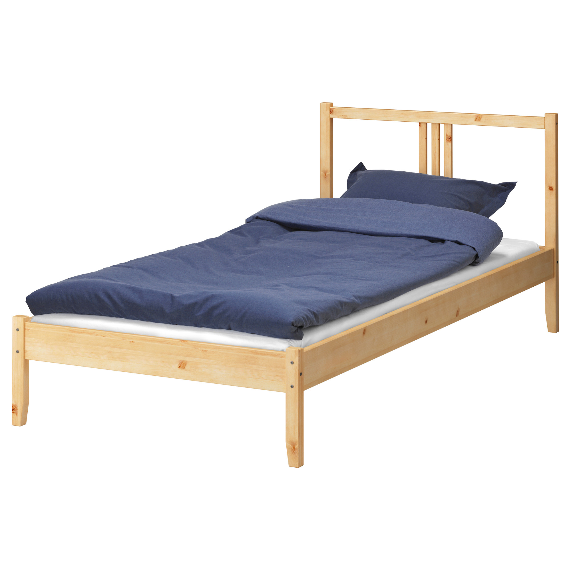 wooden twin xl bed frame ikea with blue mattress and pillow