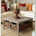 Wooden coffee table with baskets